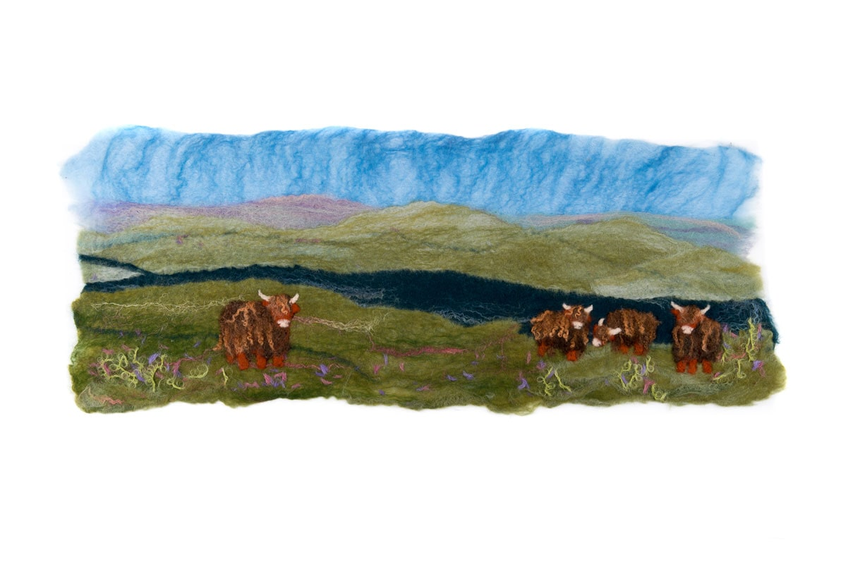 Scottish Landscape with Highland Cattle Picture Felt Kit £22
